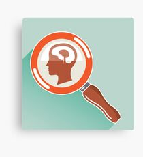 Magnifying glass and brain Canvas Print