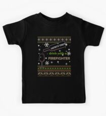 Safety First Drink With A Firefighter Funny Ugly Christmas Gifts Kids Tee