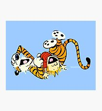 Calvin and Hobbes happy Photographic Print