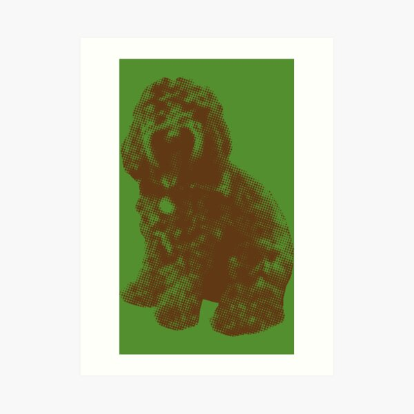 Chocolate Cockapoo Fur Baby (Green) Art Print