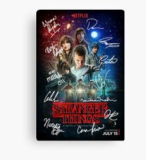 Signed Stranger Things Poster Canvas Print