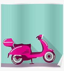 Scooter Parked Poster