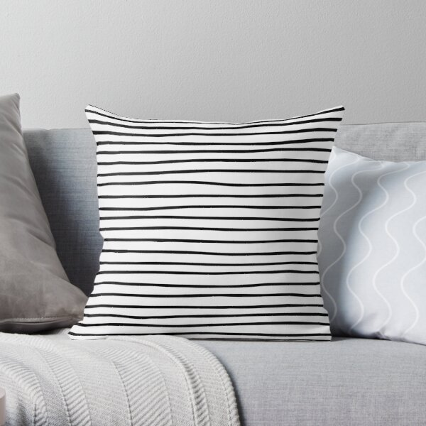 Moderno simple patrón de rayas negro blanco moderno Cojín