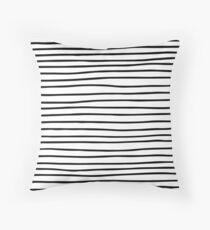 Modern simple trendy black white striped pattern Throw Pillow