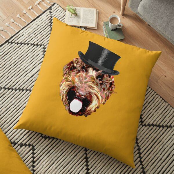 Cockapoo in a Top Hat (Gold) Floor Pillow