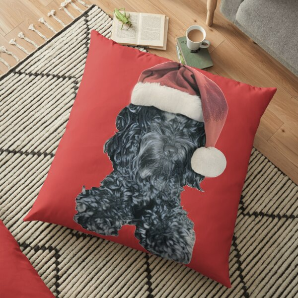 Cockapoo in a Christmas Santa Hat (Red) Floor Pillow