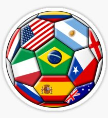 Brazil 2014 - soccer with various flags Sticker