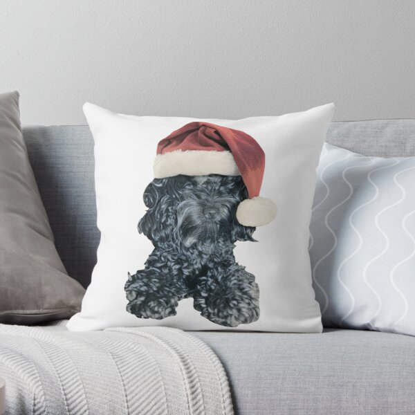 Cockapoo in a Christmas Santa Hat (Grey) Throw Pillow