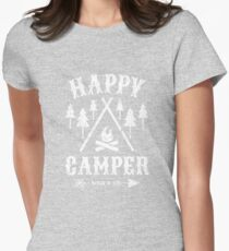 Happy Camper distressed white Women's Fitted T-Shirt