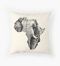 African Elephant in Shape of Africa Throw Pillow