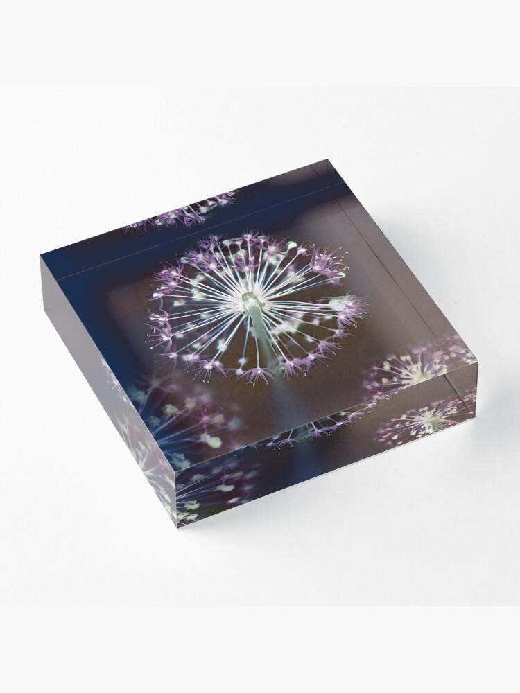Alternate view of Floral Fireworks. Dark Floral Acrylic Block