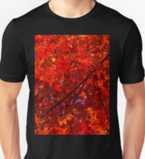 Brilliant Red Autumn Under the Maple Tree Unisex T-Shirt