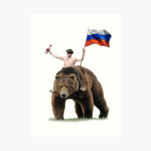 Putin Vodka Bear Tracksuit Hardbass Art Print