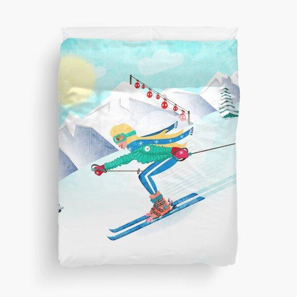 Skiing Girl Duvet Cover