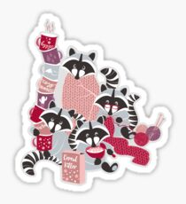 Hygge raccoon Sticker
