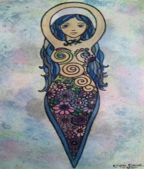 Floral spiral goddess by Geminimoonart