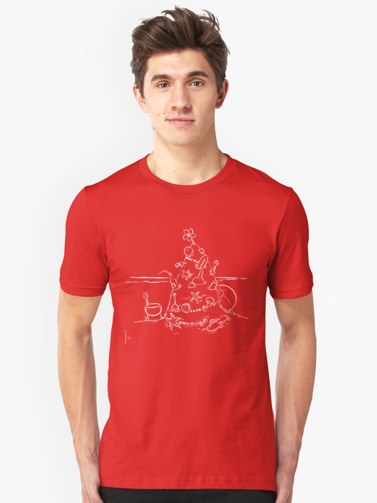 Alternate view of  Australian Christmas Lineart Tee Slim Fit T-Shirt