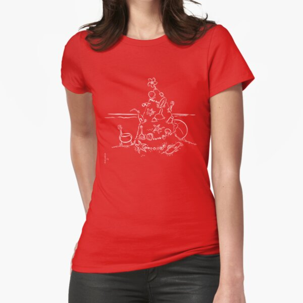 Australian Christmas Lineart Tee Fitted T-Shirt