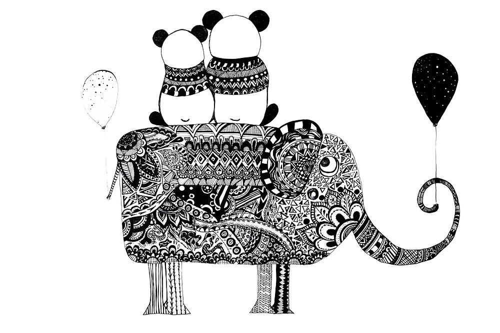 Panda. Love. Elephant travel by monicamarcov