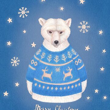 polar bear in christmas sweater by EllenLambrichts