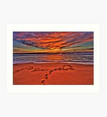 Footprints In The Sand - Newport Beach - The HDR Series Art Print