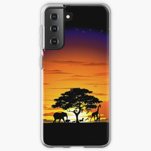 Wild Animals on African Savanna Sunset  Samsung Galaxy Soft Case