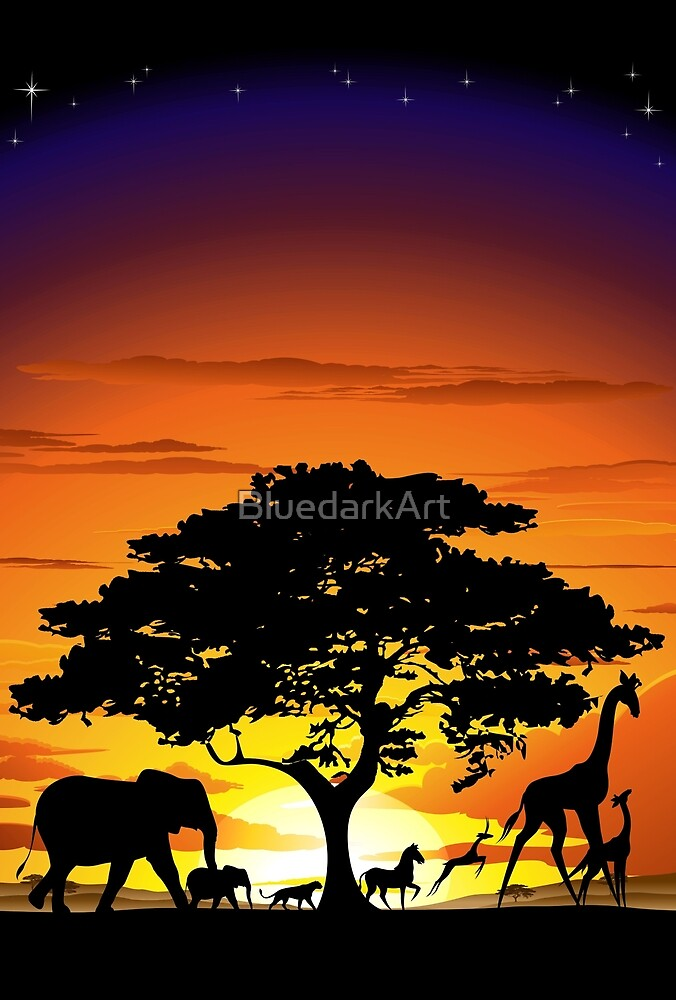 Wild Animals on African Savanna Sunset  by BluedarkArt