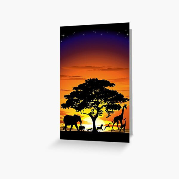 Wild Animals on African Savanna Sunset  Greeting Card