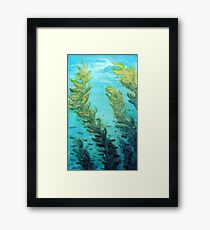 Traditional Watercolor Giant Sea Kelp Forest Framed Print