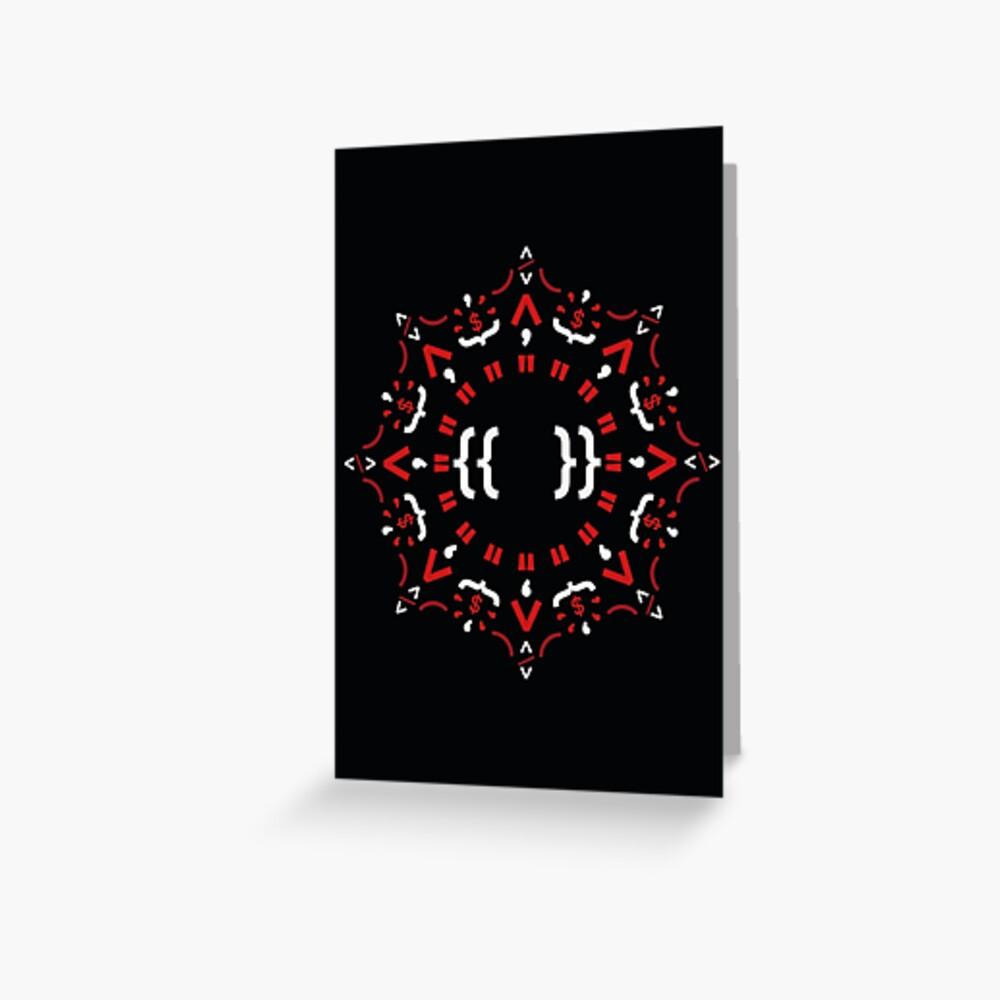 Code Mandala - Eckiges Framework - dunkle Version Grußkarte