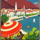 Vintage Ascona Switzerland Travel Advertisement Art Posters by jnniepce