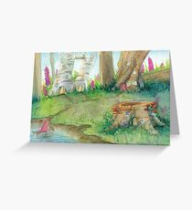 Traditional Watercolor Whimiscal Fairy Village Greeting Card