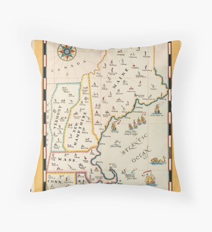 Vintage North East United States Travel Advertisement Art Poster Throw Pillow