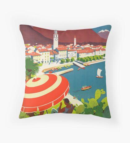 Vintage Ascona Switzerland Travel Advertisement Art Posters Throw Pillow