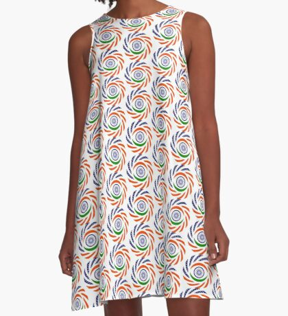 Indian American Multinational Patriot Flag Series A-Line Dress