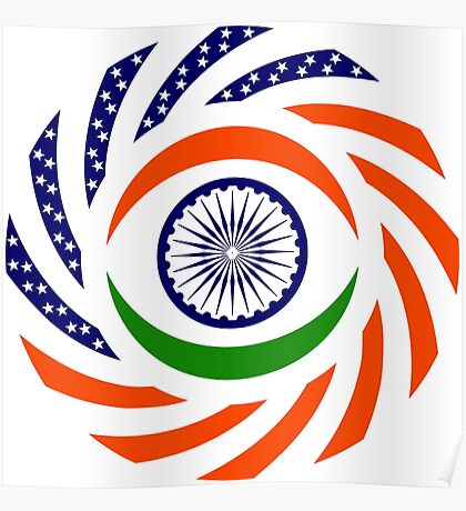 Indian American Multinational Patriot Flag Series Poster