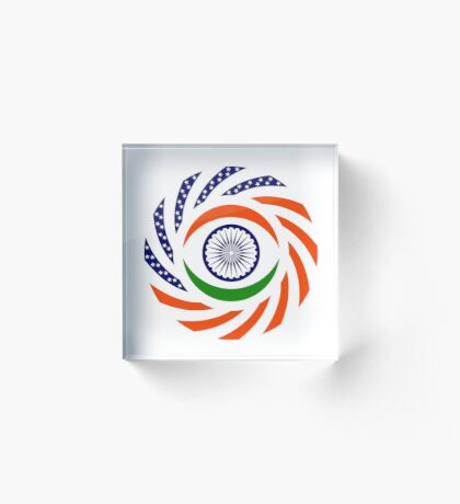 Indian American Multinational Patriot Flag Series Acrylic Block