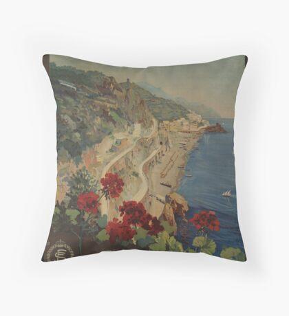 Vintage Amalfi Napoli Italy Travel Advertisement Art Poster Throw Pillow