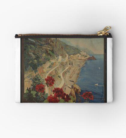 Vintage Amalfi Napoli Italy Travel Advertisement Art Poster Zipper Pouch