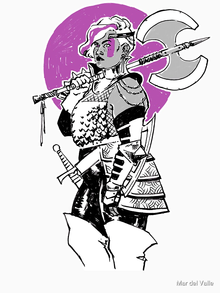 Purple Warrior - Labrys Amazon - Queer Fighter by mardelvallearts