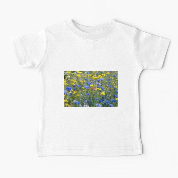 Blue Cornflowers and Yellow Daisies Baby T-Shirt