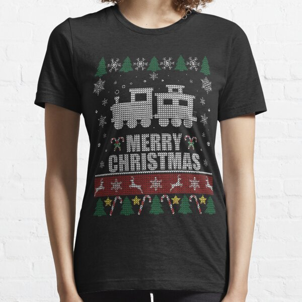 Ugly Christmas Sweater Wagon Train Lovers Essential T-Shirt