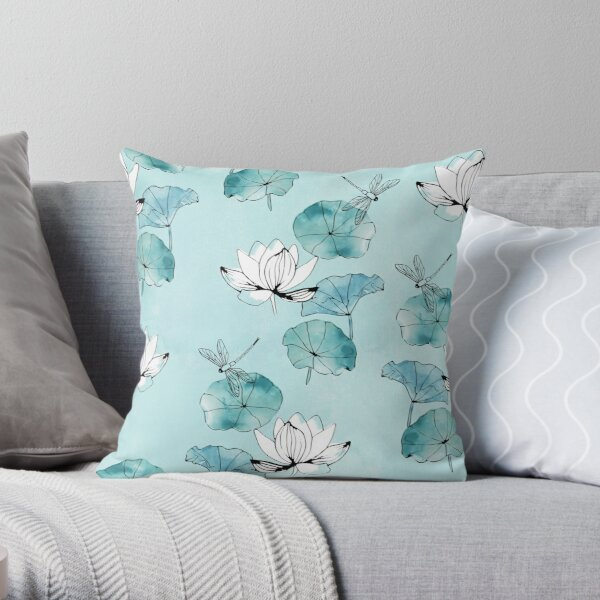 Waterlily dragonfly in green Throw Pillow