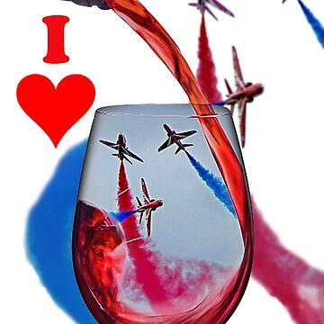 Red Arrows Tee Shirt - Wineglass by Arrowman