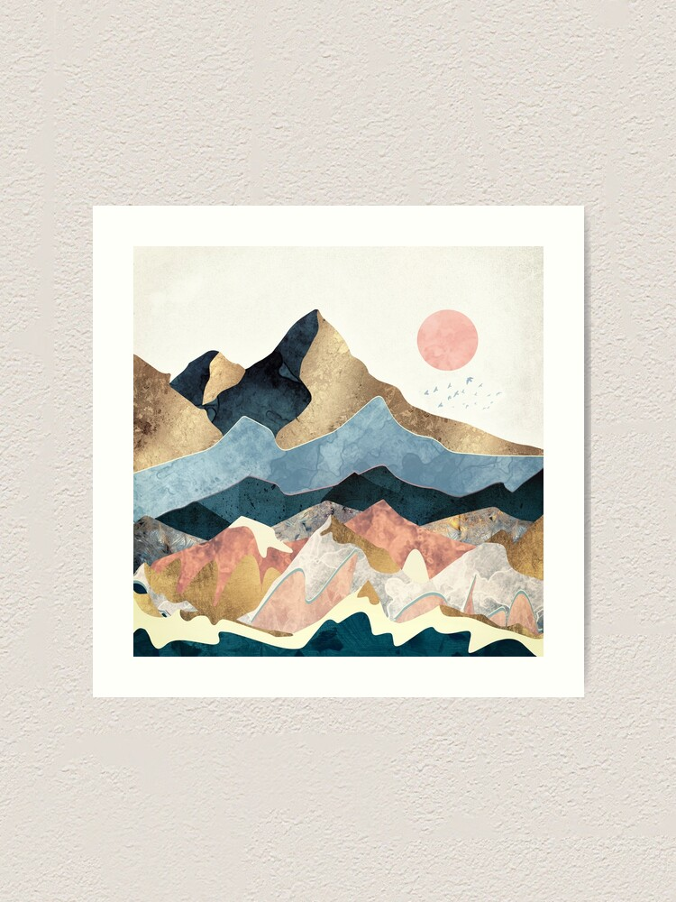 Alternate view of Golden Peaks Art Print