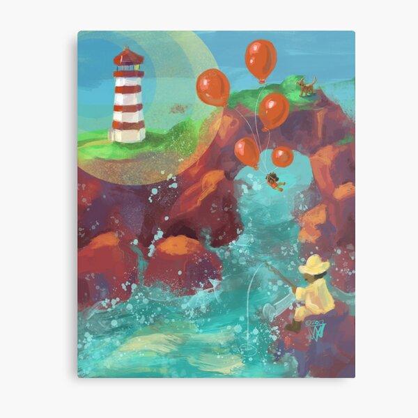 Balloon LIft Off 4, The Lighthouse Metal Print