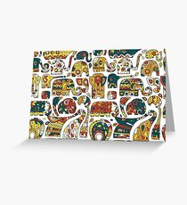 Elephants ornate collection Greeting Card