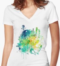 Moving Castle Women's Fitted V-Neck T-Shirt