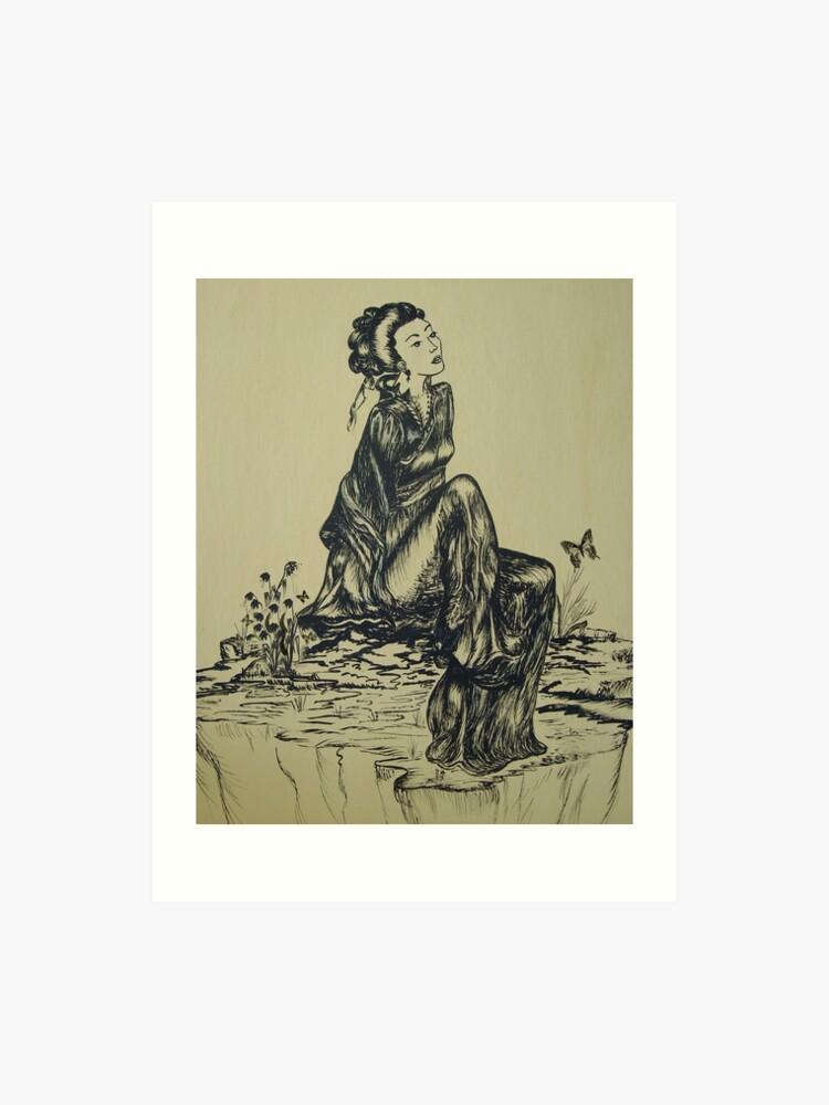 Japanese Woman Geisha Drawing Pen And Ink Art Print