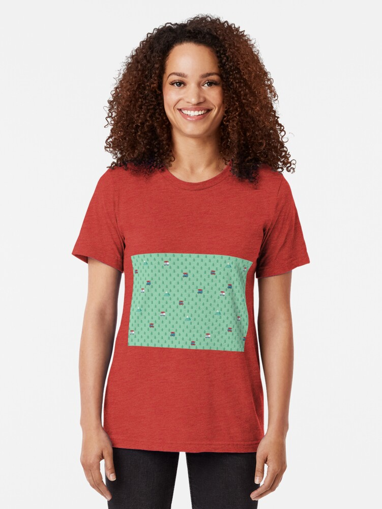 Alternate view of Animal Crossing pocket camp trees campers Tri-blend T-Shirt